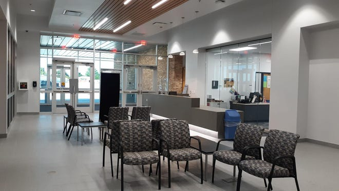 The lobby area at the new Dodge City Unified School District 443 administration building. The facility began operations on July 1. [PHOTO BY JUDD WEIL/DODGE CITY DAILY GLOBE[