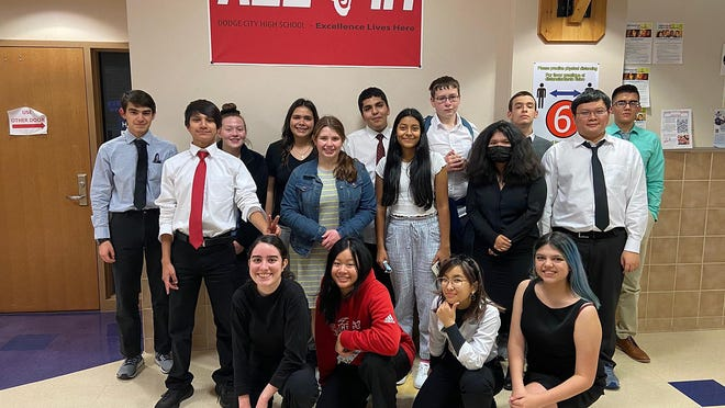 The DCHS debate team sent eight squads to two tournaments hosted by Great Bend and Wichita Collegiate and came away with a first- and a second-place trophy respectively. Team members include Xania Cobian, Vivian Nguyen, Trinady Luangchai, Angelica Plata, Brennan Carbajal, Charlee Bitler, Alexandra Morales, Erica Rodriguez, Brian Nguyen, Christopher Montford, Payton Dunn, Yamir Gardea, Owen Wesley, Joel Soto and Hever Arjon.
