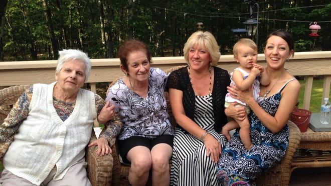 This five-generation 2014 photo shows, from left: Novella Cobleigh of Shohola, Pennsylvania; Judy Clemente of Whiting; Carol Walsh of Lords Valley, Pennsylvania; and Juliet and Sarah Krykew. who live in Coatesville, Pennsylvania.