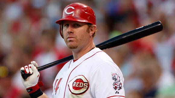 The Reds' Adam Dunn in June of 2008.