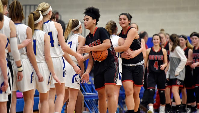 Dover's Rajah Fink leads the Eagles in greeting Kennard-Dale after winning a YAIAA girls' basketball game Friday, Jan. 19, 2018, at Kennard-Dale. Dover defeated Kennard-Dale 49-44 in overtime.