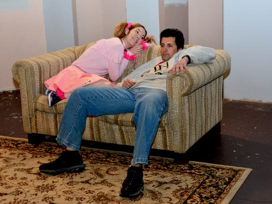 """Greg (David Ceretta) and his dog Sylvia (Abigail Clements) in Backdoor Theatre's new production """"Sylvia,"""" which ends Dec 16."""