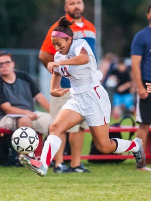 Vineland's Gabriella Perez (13) works up field against Millville at the Vineland Soccer Complex on Wednesday, September 20.