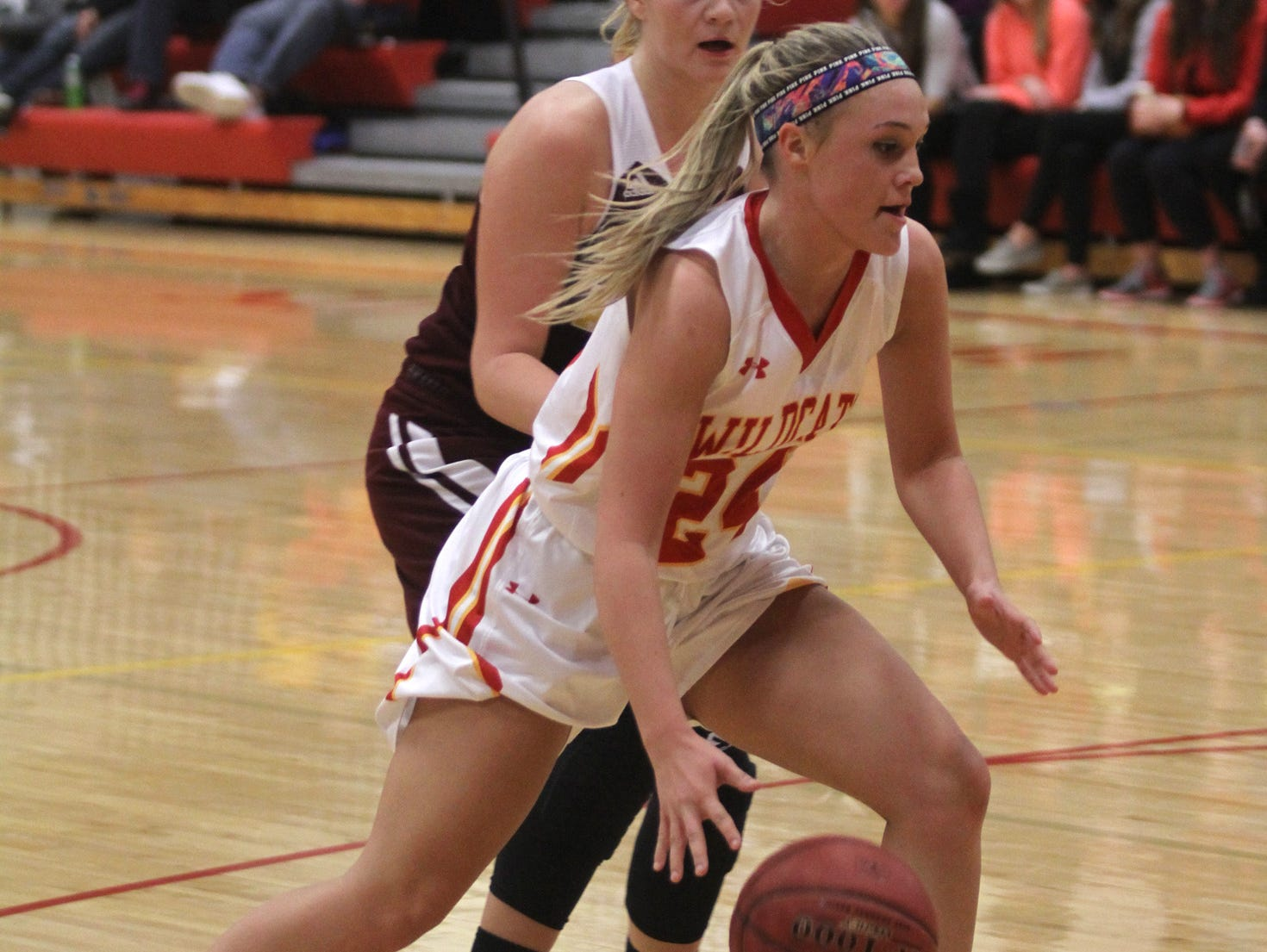 Carlisle junior Hailey Brunsen drives to the basket. Class 4-A 15th-ranked Carlisle beat Ankeny 57-44 in the Wildcats' home opener on Nov. 24.