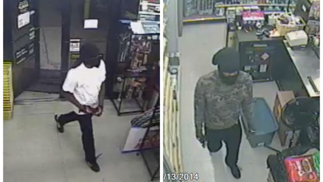 Surveillance cameras show two black mail suspects wearing ski masks, armed with handguns, robbing the Dollar General Store on Pine Island Road. The suspects, Jonas Griffin and Justin DIggs. have both been sentenced to life prison terms.