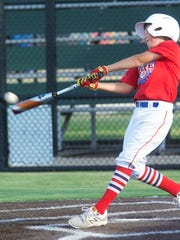 A Dixie player hits during the 9-11 team's practice Wednesday at the Dixie Little League field. Dixie opens the Texas West State Little League tournament against East Brownsville at 8:30 p.m. Saturday at Lake Kirby Park.