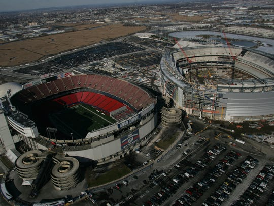 5417 EAST RUTHERFORD, NJ  01/12/09 AERIALS:  The old and new Giants Stadium's in East Rutherford, Monday, January 12, 2009.  KEVIN R. WEXLER / STAFF PHOTOGRAPHER