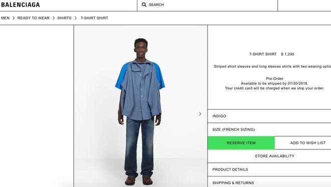 Balenciaga's T-shirt Shirt is priced at $1,290.