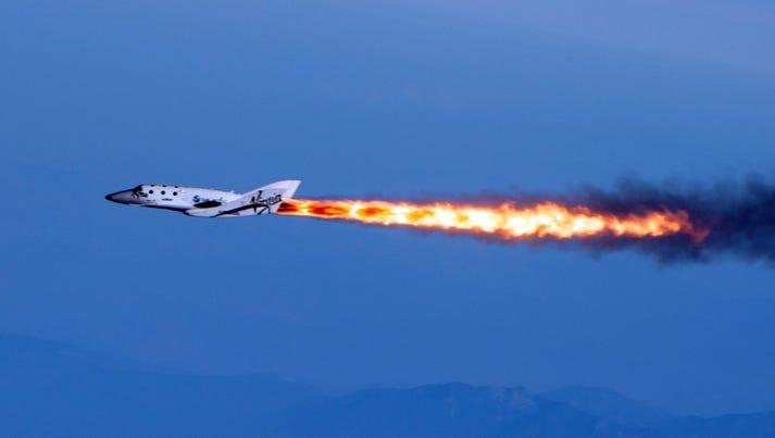 Virgin Galactic's SpaceShipTwo flies under rocket power