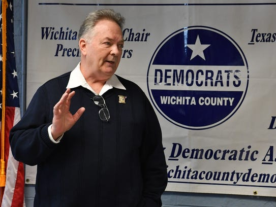 Greg Sagan, the Democratic candidate for the U.S. House of Representatives, Texas 13th District, speaks to a group at the Wichita County Democratic Headquarters at a previous event.