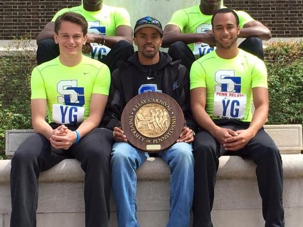 The St. Georges boys 4-x-400 relay team won its Penn Relays heat in 3:19.52 on Saturday, the fastest time by a Delaware team at the event and 14th overall among more than 500 entries. Pictured are (front, from left) Austyn Warren, coach Kai Maull and Zach Bowe, (back) twin brothers Taronn and Keyjuan Selby. Maull has had success at Franklin Field before. He won the Penn Relays boys high school long jump while competing for Cape Henlopen in 1998.