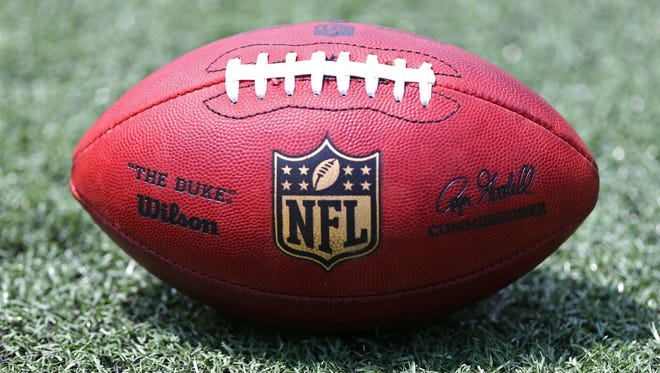 A view of an official NFL football.