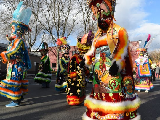 Parade participants march in Rhinebeck during a past Sinterklaas event.