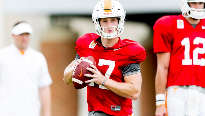 Tennessee quarterback Will McBride (17) lines up a pass during Tennessee fall football practice at Anderson Training Facility in Knoxville, Tennessee on Tuesday, October 10, 2017.