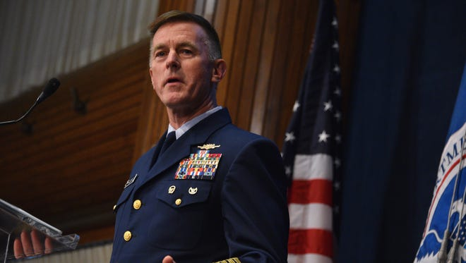 Admiral Paul Zukunft delivers the 2017 State of the Coast Guard Address at the National Press Club in Washington, D.C.