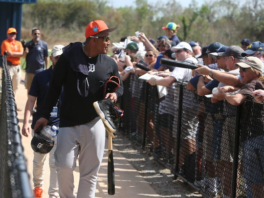 Tigers infielder Miguel Cabrera heads to the locker room after spring training on Monday, Feb. 19, 2018, at Joker Marchant Stadium in Lakeland, Fla.