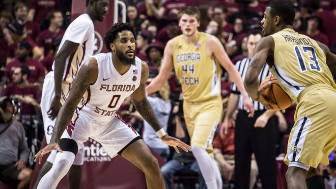 Phil Cofer (0) and the FSU Men's Basketball team were strong on defense and held off the Yellow Jackets for an 88-77 win on Wed., Jan 24th at the Donald L. Tucker Center.