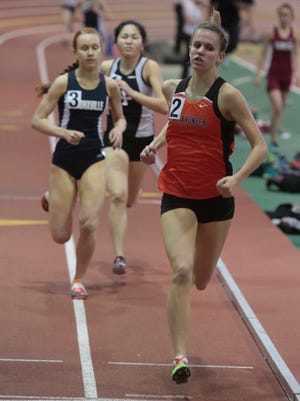 Mamaroneck's Katie DeVore runs in the girls 1,000 meters race Sunday at the Westchester County championships at The Armory in Manhattan.