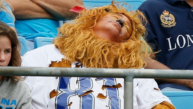 A Detroit Lions fan watches the 24-7 loss to the Carolina Panthers on Sept. 14, 2014.