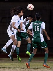 Redwood's Brian Perez ties up the game with a head