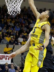 Marquette guard Greg Elliott averaged 18.3 minutes per game as a freshman in the 2017-18 season.