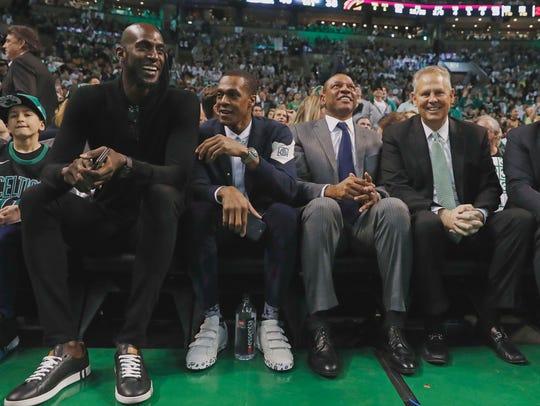 Former Boston Celtics (left to right) Kevin Garnett,
