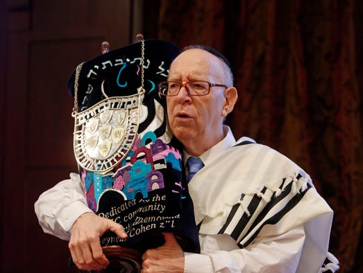 Joel Scott Strauss of Suffern, 62, was diagnosed as deaf at six-years-old. He'll finally have his bar mitzvah on April 5.  Joel Scott Strauss rehearses for his bar mitzvah March 27, 2014 at Orangetown Jewish Center in Orangeburg.