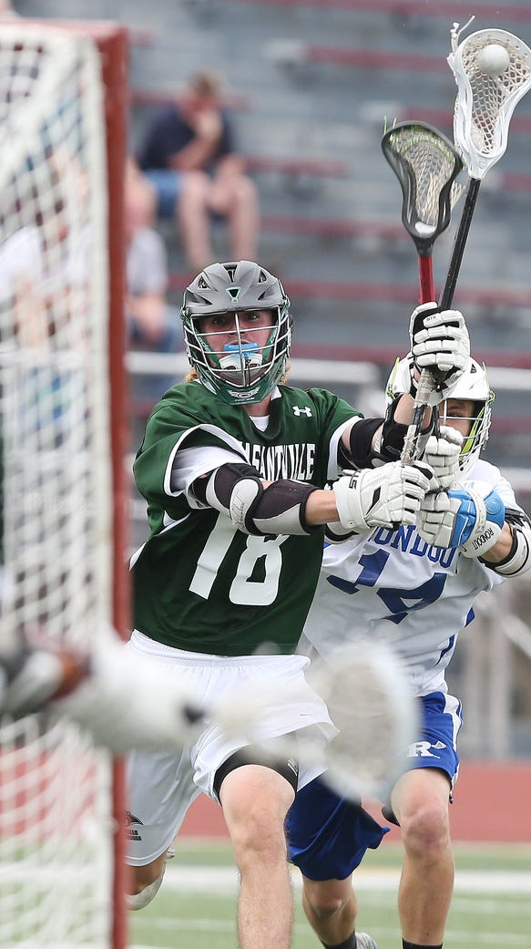 Pleasantville's Jack Howe (18) fires a shot that gets
