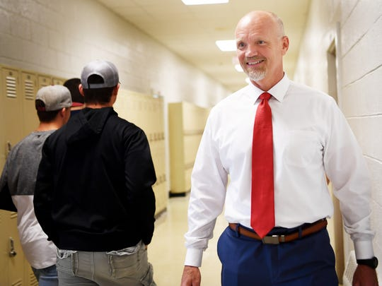 Chris Baldwin, Macon County Schools superintendent, walks through Franklin High School May 17, 2018.