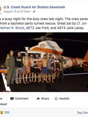 A bachelor party was rescued Saturday.