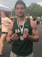 Ramapo's Max Baker, winner of the Big North Freedom 100 and 200 sprint events on Friday, May 4, 2018 at Ridgewood.