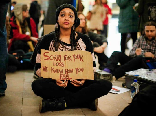 Protesters Rally Against Police Aggression In Grand Central Station