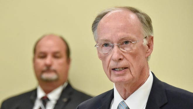 Alabama Gov. Robert Bentley speaks during a news conference at Limestone Correctional Facility in Harvest on Monday. Bentley says he is asking people for their forgiveness after his admission of inappropriate behavior with a former top aide.