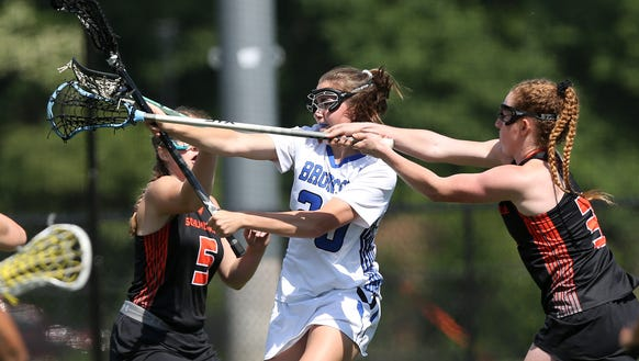 Bronxville's Isabel Sondey (20) fires a shot for a