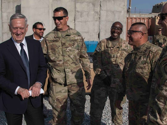 Leaders with 1st Brigade meet with Defense Secretary James Mattis at Tactical Base Gamberi in eastern Afghanistan.