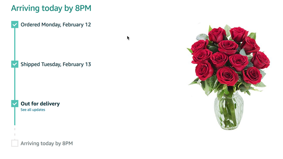 Amazon's Prime offer of a dozen roses were scheduled