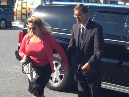 Shrewsbury-area District Judge Jeffrey Joy arrives for his preliminary hearing Friday.