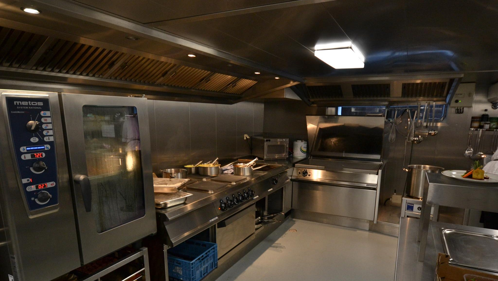 Another view inside the ship's kitchen.