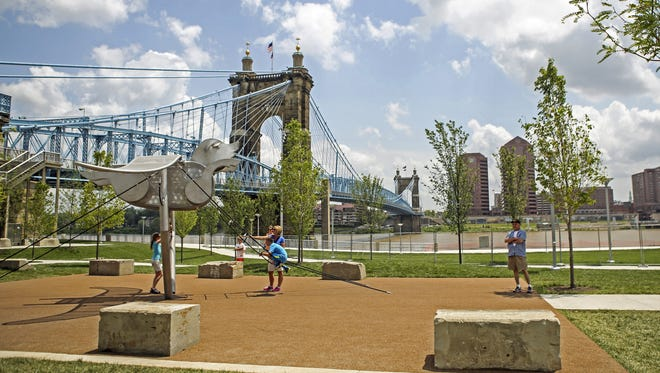 A view of Smale Park overlooking the Ohio River.