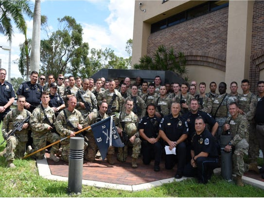 Members of the Army National Guard unit B Co, 2-124th