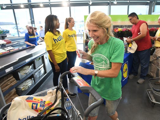 Tree Friesen smiles as she walks into the new Lidl