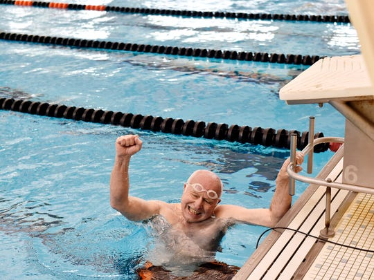 William Verbrugge, 70 of East Hopewell Township, celebrates after completing the 100-yard backstroke at the 16th annual York County Senior Games Friday, June 23, 2017, at Central York High School. The week-long games, organized by the York County Area Agency on Aging, concluded Friday.