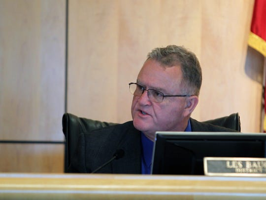 "Shasta County Supervisor Les Baugh addresses County Counsel Ruben Cruse on Tuesday as Cruse presents his opinion on Senate Bill 54, commonly known as California's ""sanctuary state"" law."