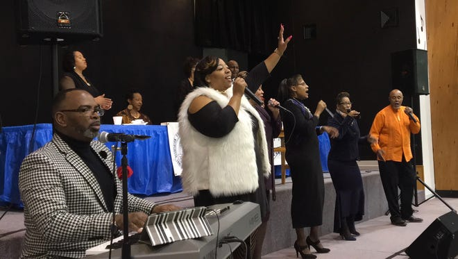 """A """"True Worship"""" musical selection performed at the Staunton Branch NAACP's """"Unity Prayer Breakfast"""" event at St. Paul's United Methodist Church on Saturday, Feb. 4, 2017, in Staunton, Va."""