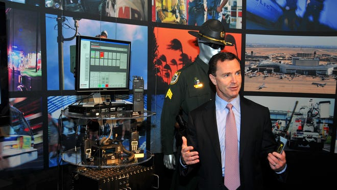 Harris President and Chief Executive Officer William Brown, at the company's customer briefing center.