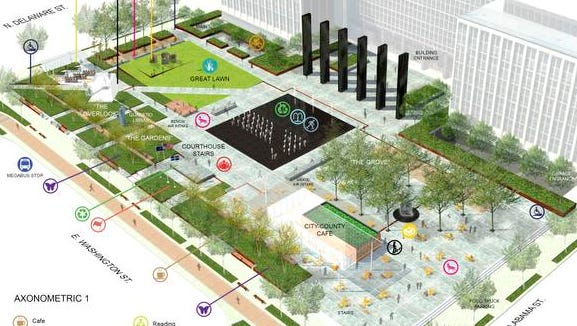 The city has scrapped these plans for a community park for Downtown Indianapolis, after construction costs came in $8 million over budget. Renderings designed by the Design Collective of Baltimore, Md.