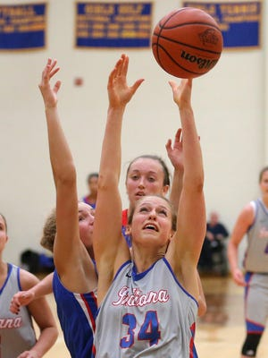 Indiana's Ali Patberg goes after a rebound against Kentucky during the Junior All-Star Game, Friday, June 6, 2014, at Greenfield Central High School.