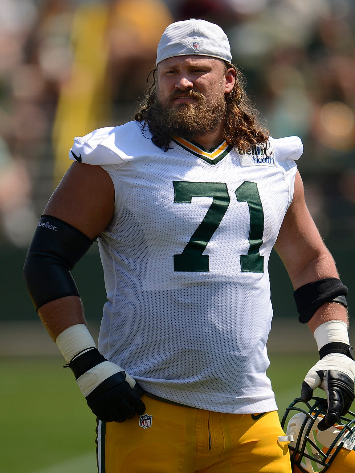 Green Bay Packers guard Josh Sitton during training