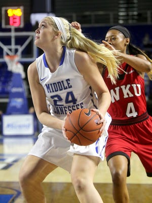 MTSU's Rebecca Reuter (24) and her teammates are seeking their sixth straight win in Miami on Saturday.