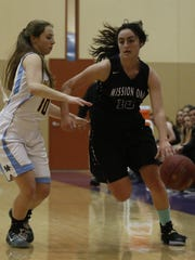 Mission Oak's Rhegan Fernandes drives past a Monache defender on Thursday during the eighth annual Tulare Mid-Winter Showcase Invitational championship game at Mission Oak High School in Tulare.